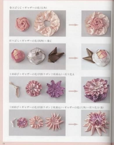Цветы из лент - Пусть меня научат.