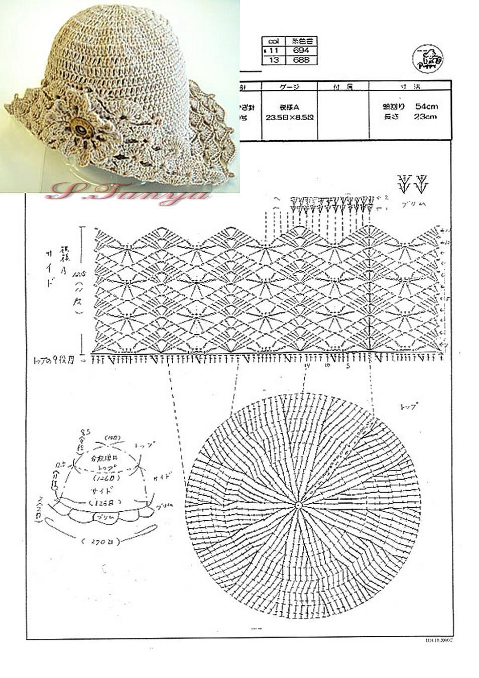 Схема узоров для вязания крючком для шляпки