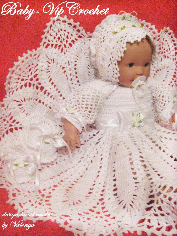 Вязание крестильный набор для девочки 926